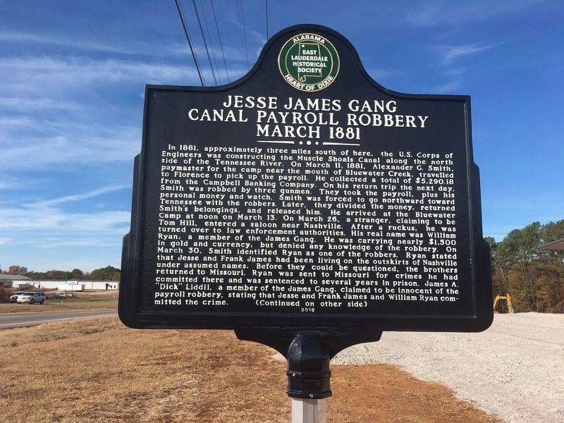 Jesse James Gang Canal Payroll Robbery March 1881 Marker image. Click for full size.