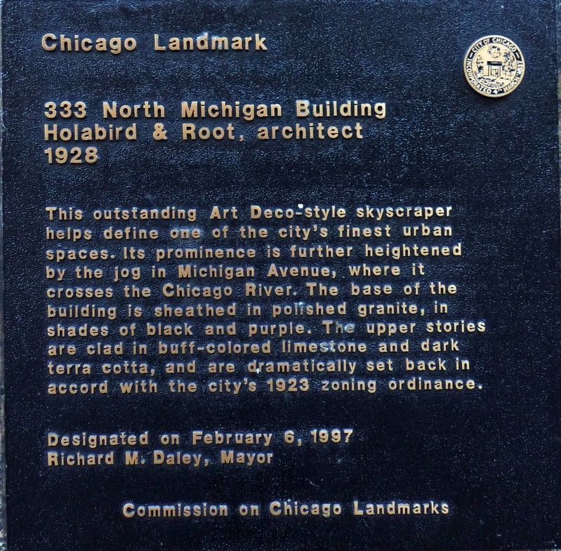333 North Michigan Building Marker image. Click for full size.