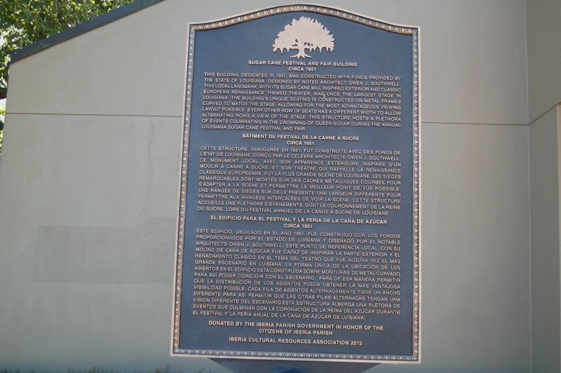 Sugar Cane Festival and Fair Building Marker image. Click for full size.