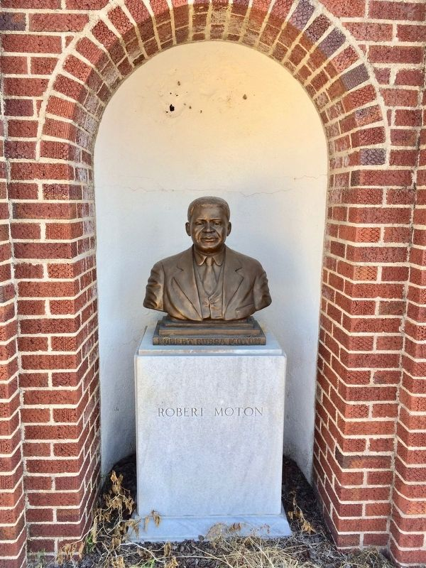 Bust (at entrance gate) of Robert Russa Moton. image. Click for full size.