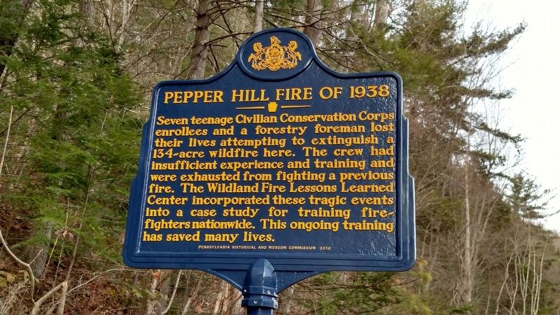 Pepper Hill Fire of 1938 Marker image. Click for full size.