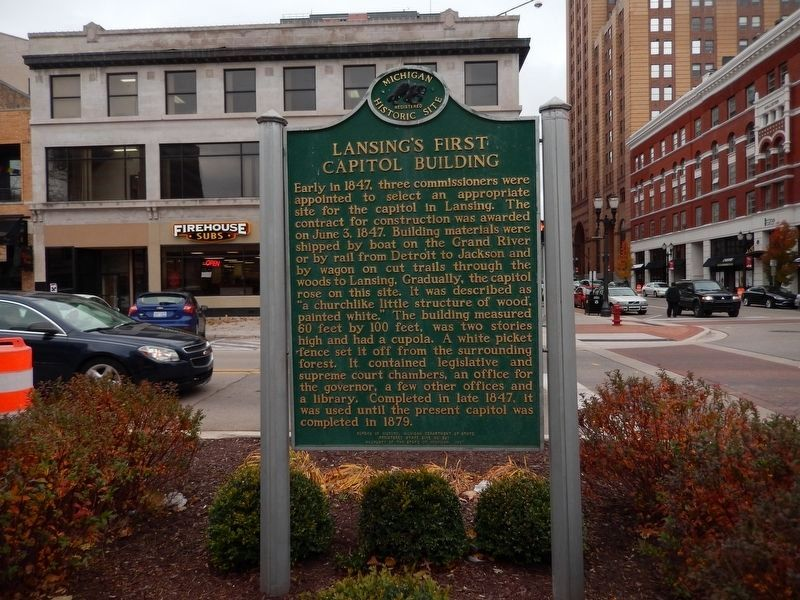 Lansing's First Capitol Building Marker image. Click for full size.