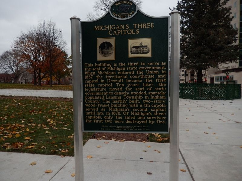 Michigan's Three Capitols Marker image. Click for full size.