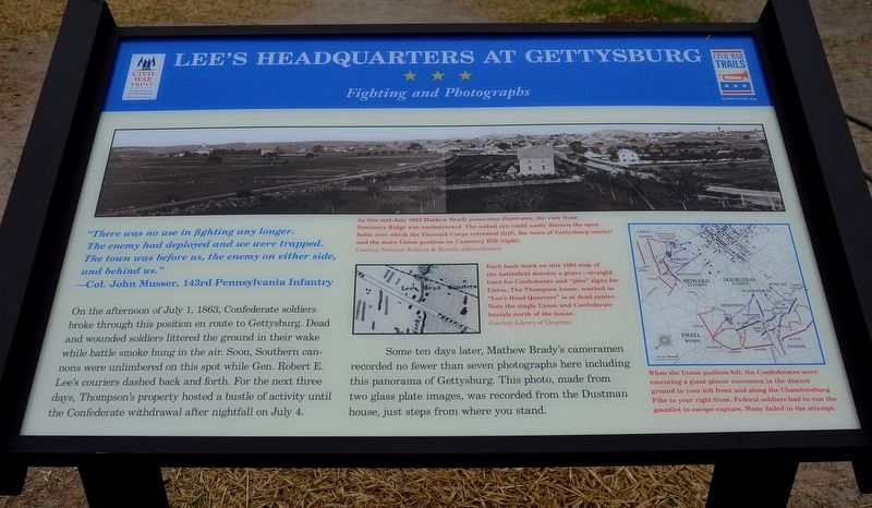 Lee's Headquarters at Gettysburg Marker image. Click for full size.