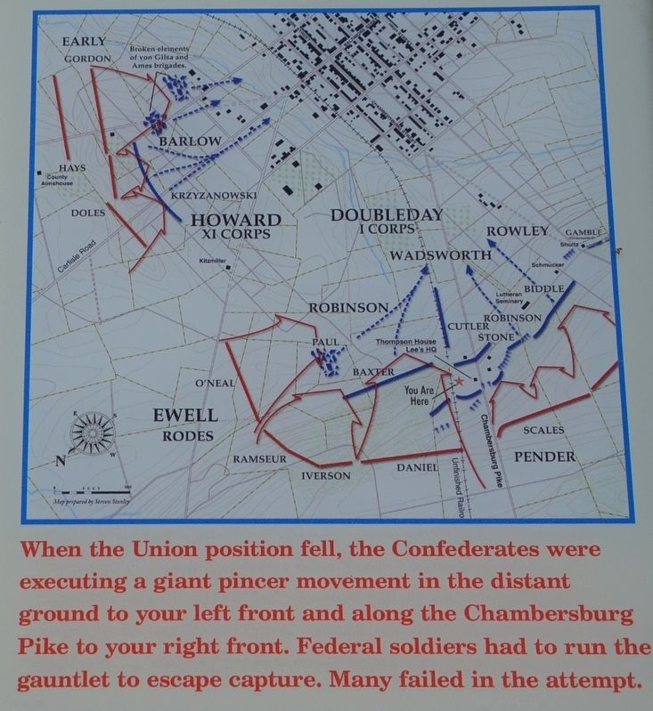 Map of the Battle Action on July 1, 1863 image. Click for full size.