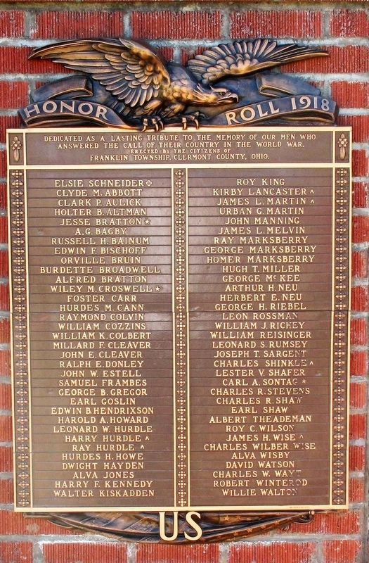 Honor Roll 1918 Marker image. Click for full size.
