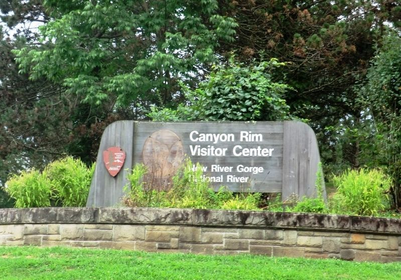 Sign at the entrance to the Canyon Rim Visitor Center New River Gorge National River image. Click for full size.