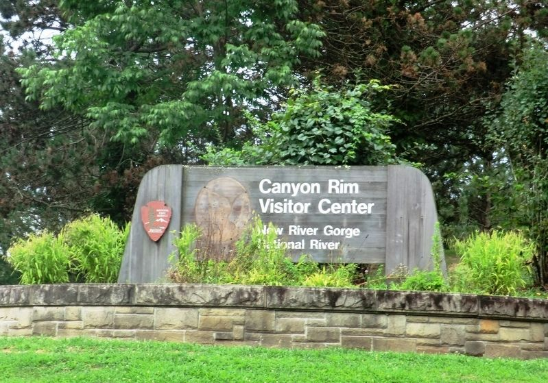 Entrance sign to Canyon Rim Visitor Center New River Gorge National River image. Click for full size.
