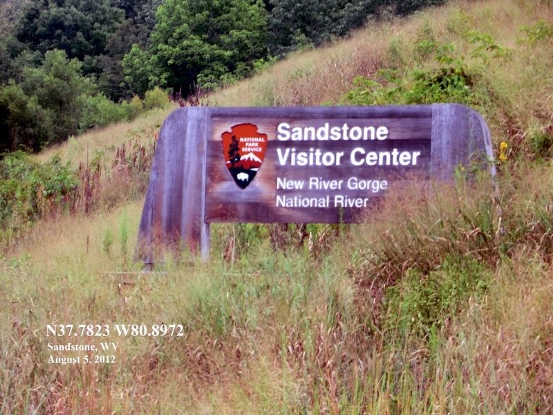Sign at the entrance to Sandstone Visitor Center New RIver Gorge National River image. Click for full size.
