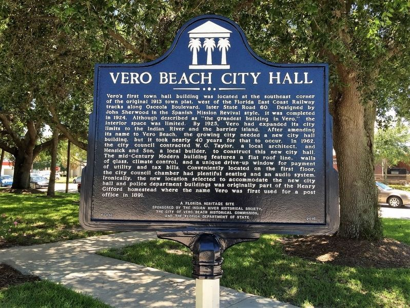 Vero Beach City Hall Marker image. Click for full size.