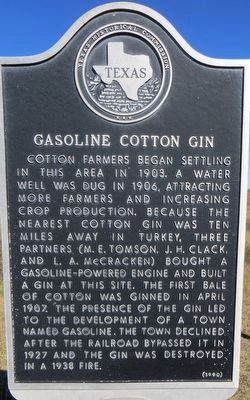 Gasoline Cotton Gin Marker image. Click for full size.