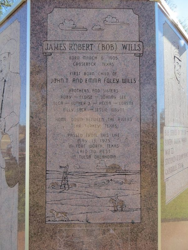Bob Wills Marker (third side) image. Click for full size.