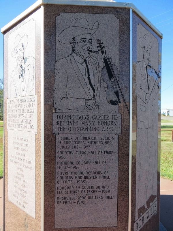Bob Wills Marker (side eight) image. Click for full size.