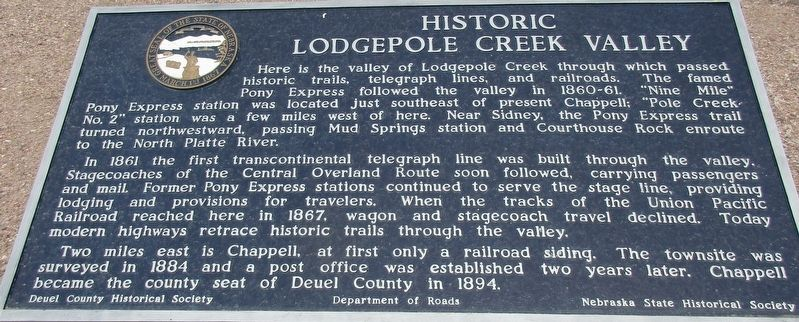 Historic Lodgepole Creek Valley Marker image. Click for full size.