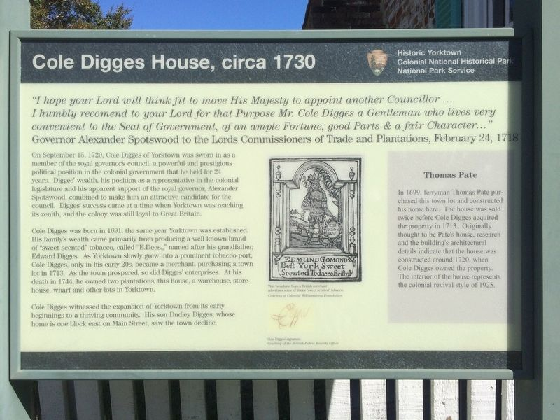Cole Digges House, circa 1730 Marker image. Click for full size.