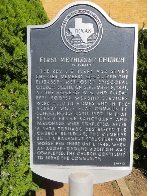 First Methodist Church of Turkey Marker image. Click for full size.