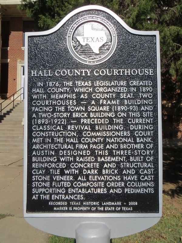 Hall County Courthouse Marker image. Click for full size.