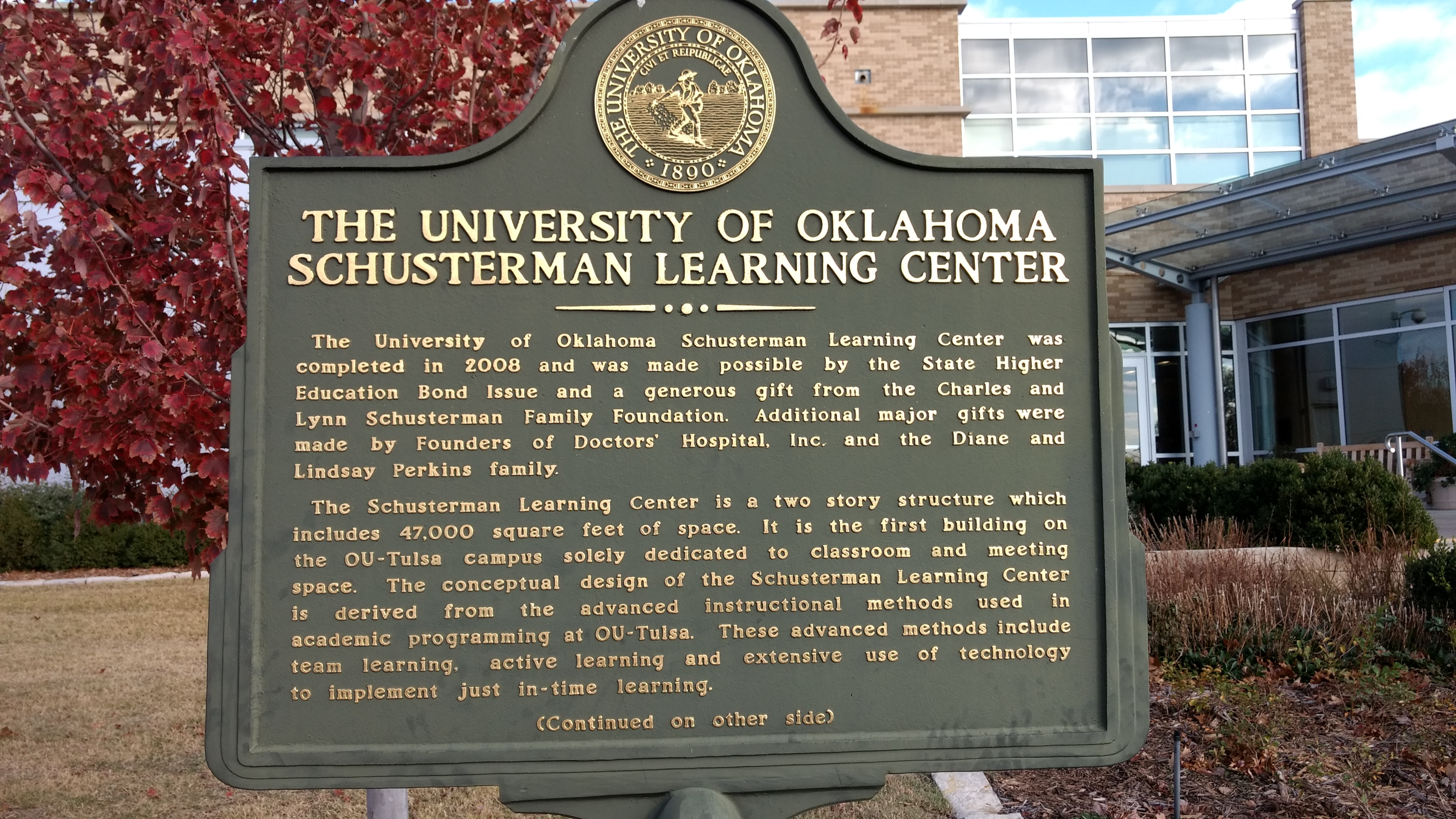 The University of Oklahoma Schusterman Learning Center Marker