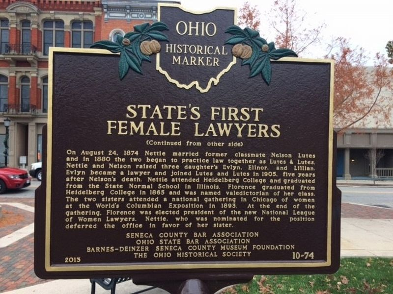 State's First Female Lawyers Marker image. Click for full size.