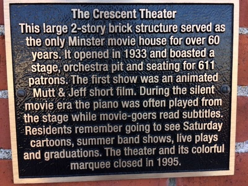 The Crescent Theater Marker image. Click for full size.