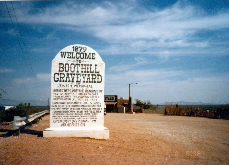 Boothill Graveyard and Jewish Memorial Marker image. Click for full size.