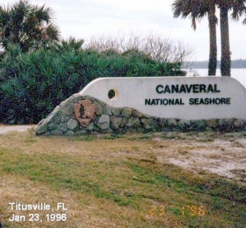 Sign at the entrance to Canaveral National Seashore image. Click for full size.