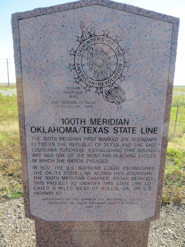 100th Meridian Oklahoma/Texas State Line Marker image. Click for full size.