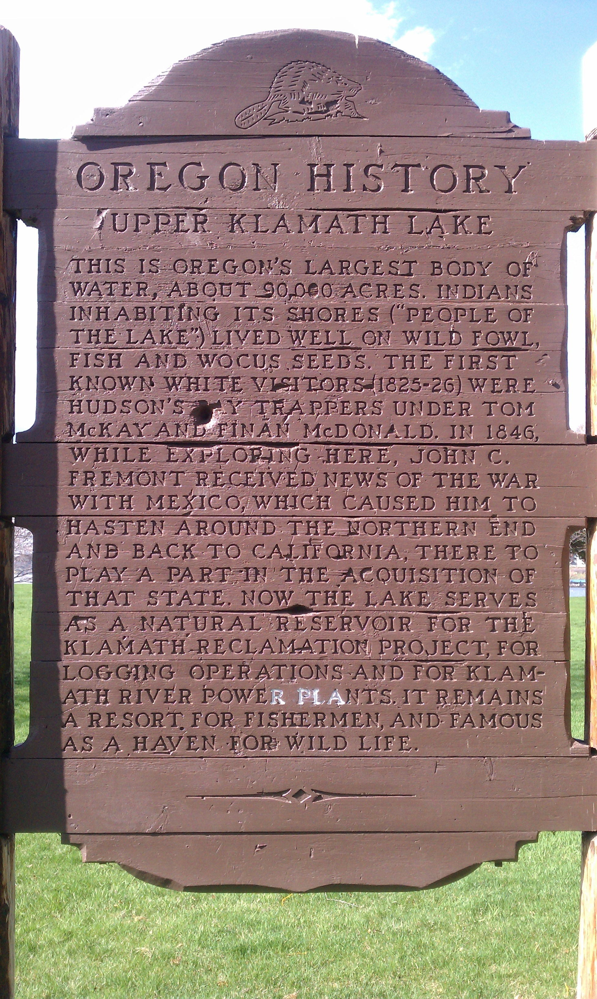 Oregon History - Upper Klamath Lake Marker