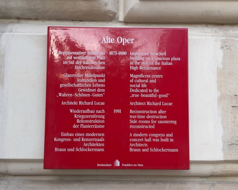 Alte Oper / The Old Opera House Marker image. Click for full size.