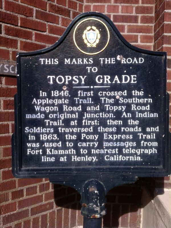 This Marks the Road to Topsy Grade Marker image. Click for full size.