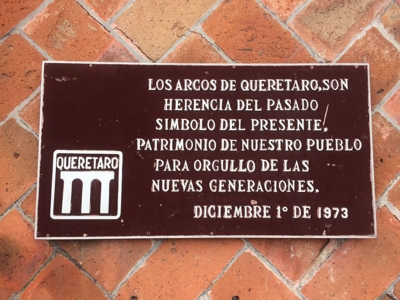 An additional nearby Aqueduct of Querétaro marker image. Click for full size.