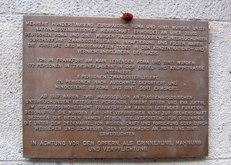 Frankfurt Romani Memorial Marker image. Click for full size.