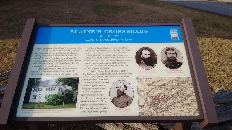 Blaine's Crossroads Marker image. Click for full size.