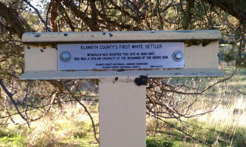 Klamath County's First White Settler Marker image. Click for full size.