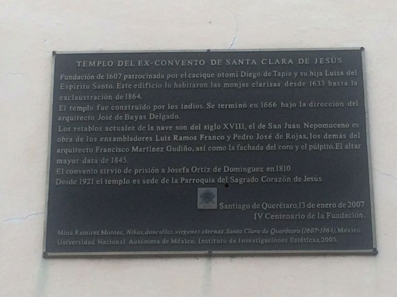 Temple of the Ex-Convent of Santa Clara de Jesus Marker image. Click for full size.