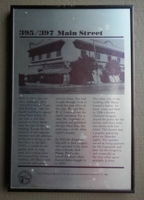 395/397 Main Street Marker image. Click for full size.
