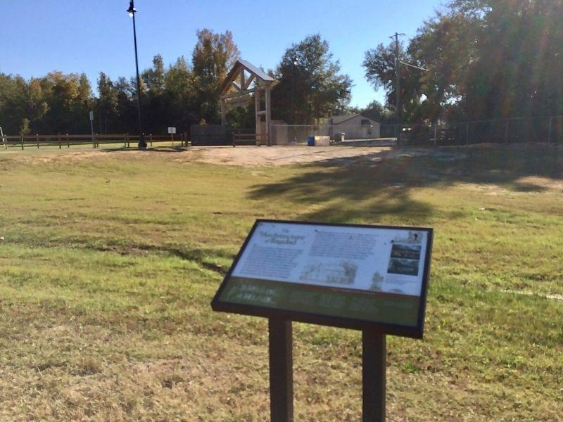 The Architecture of Bagdad marker looking towards Bagdad Mill Site park entrance. image. Click for full size.