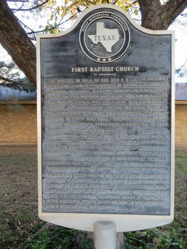 First Baptist Church of Shamrock Marker image. Click for full size.