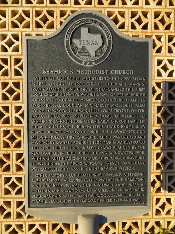 Shamrock Methodist Church Marker image. Click for full size.