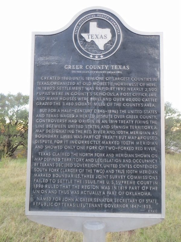 Greer County, Texas Marker image. Click for full size.