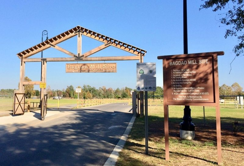 Bagdad Mill Site park entrance gate. image. Click for full size.