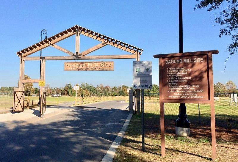 Entrance gate to the Bagdad Mill Site park. image. Click for full size.