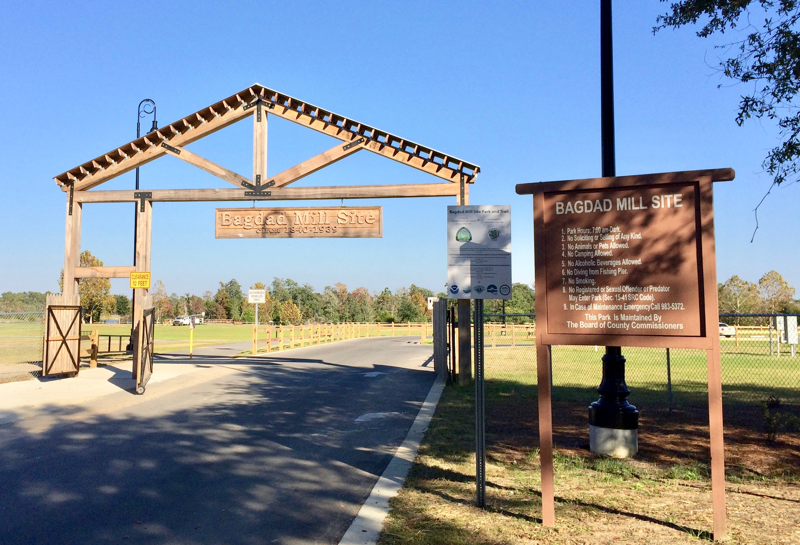 Entrance gate to the Bagdad Mill Site park.