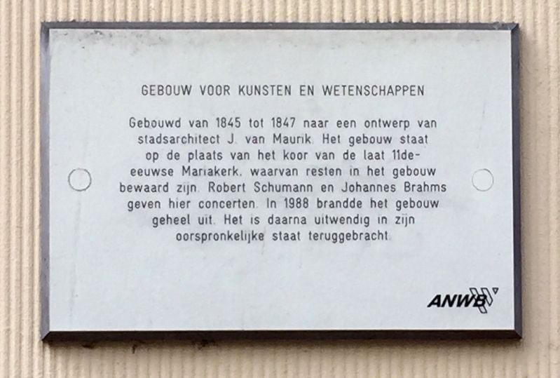 Gebouw Voor Kunst En Wetenschappen / Arts and Science Building Marker image. Click for full size.