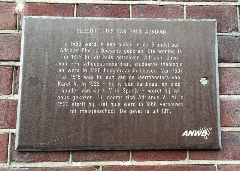 Geboortehuis van Paus Adriaan / Birthplace of Pope Adrian Marker image. Click for full size.