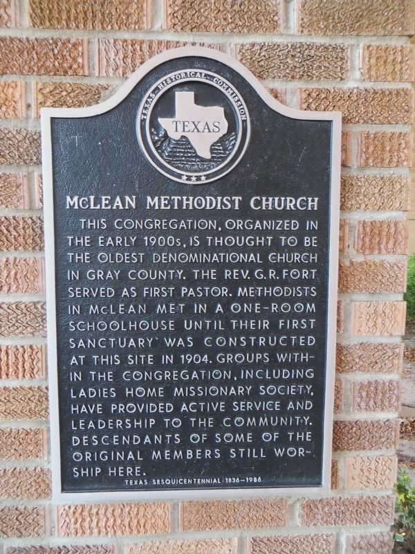 McLean Methodist Church Marker image. Click for full size.
