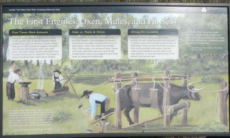 The First Engines: Oxen, Mules, and Horses Marker image. Click for full size.
