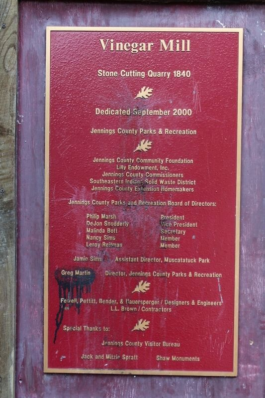 Vinegar Mill Stone Cutting Quarry Plaque image. Click for full size.