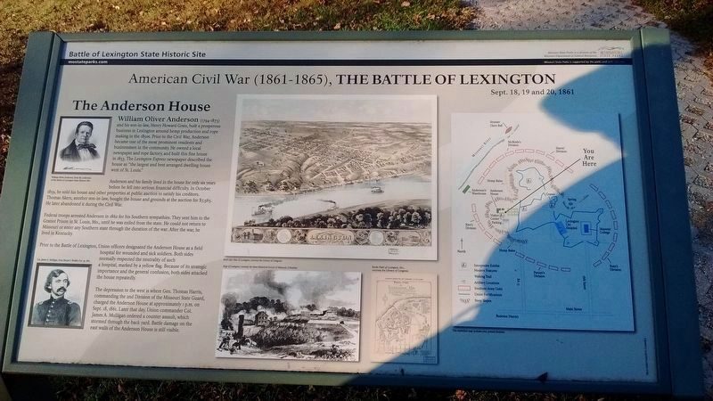 The Battle of Lexington Marker - The Anderson House image. Click for full size.