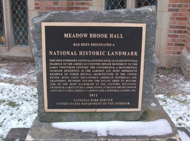 Meadow Brook Hall Marker image. Click for full size.